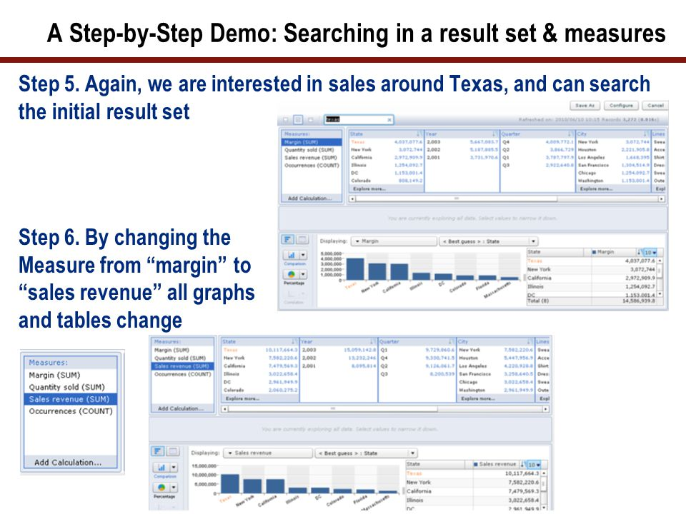 A Step-by-Step Demo: Searching in a result set & measures Step 5.