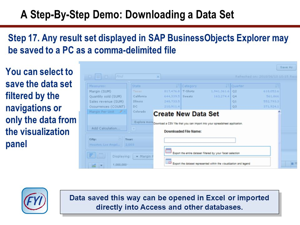 A Step-By-Step Demo: Downloading a Data Set Step 17.