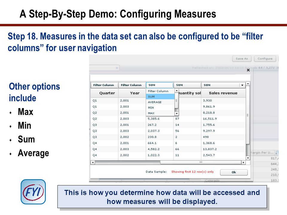 A Step-By-Step Demo: Configuring Measures Step 18.