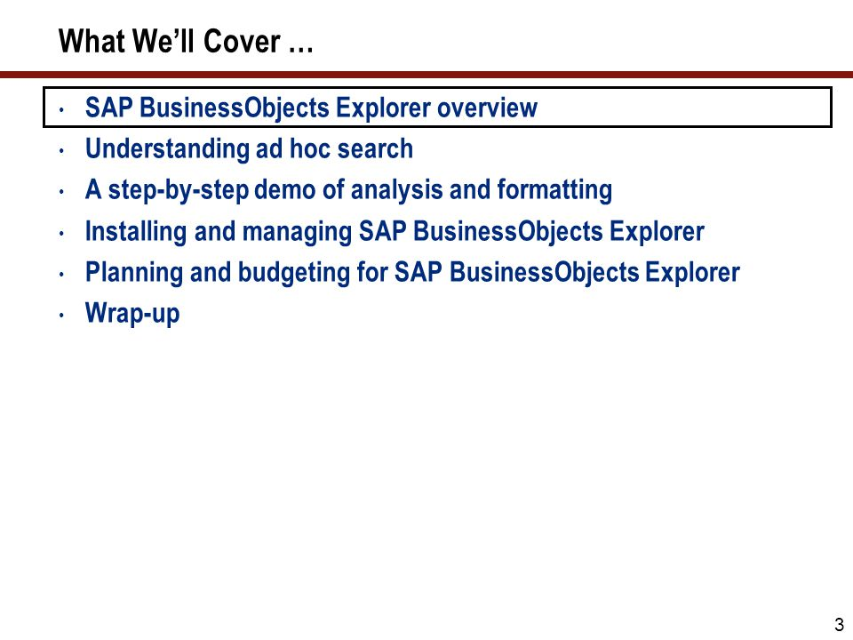3 What We'll Cover … SAP BusinessObjects Explorer overview Understanding ad hoc search A step-by-step demo of analysis and formatting Installing and managing SAP BusinessObjects Explorer Planning and budgeting for SAP BusinessObjects Explorer Wrap-up