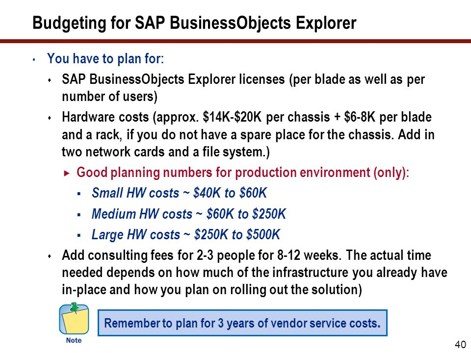 Budgeting for SAP BusinessObjects Explorer You have to plan for:  SAP BusinessObjects Explorer licenses (per blade as well as per number of users)  Hardware costs (approx.