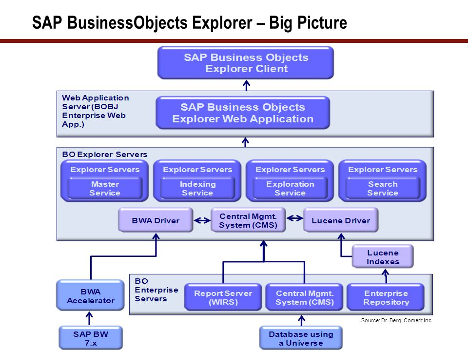 SAP BusinessObjects Explorer – Big Picture Source: Dr. Berg, Comerit Inc.