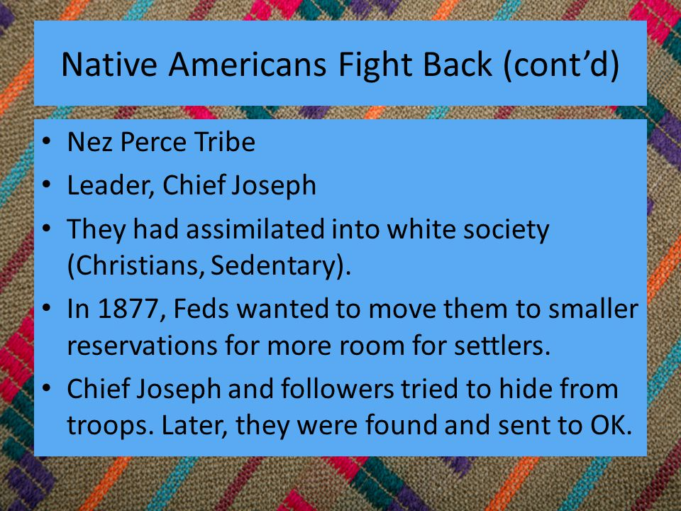 Native Americans Fight Back (cont'd) Nez Perce Tribe Leader, Chief Joseph They had assimilated into white society (Christians, Sedentary).