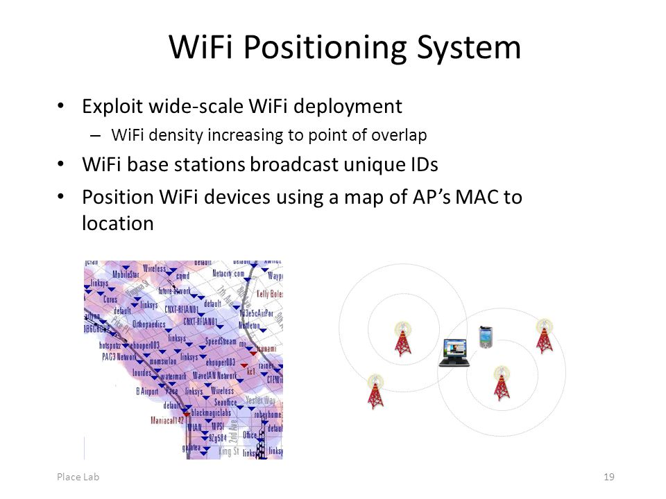 Place Lab19 WiFi Positioning System Exploit wide-scale WiFi deployment – WiFi density increasing to point of overlap WiFi base stations broadcast unique IDs Position WiFi devices using a map of AP's MAC to location