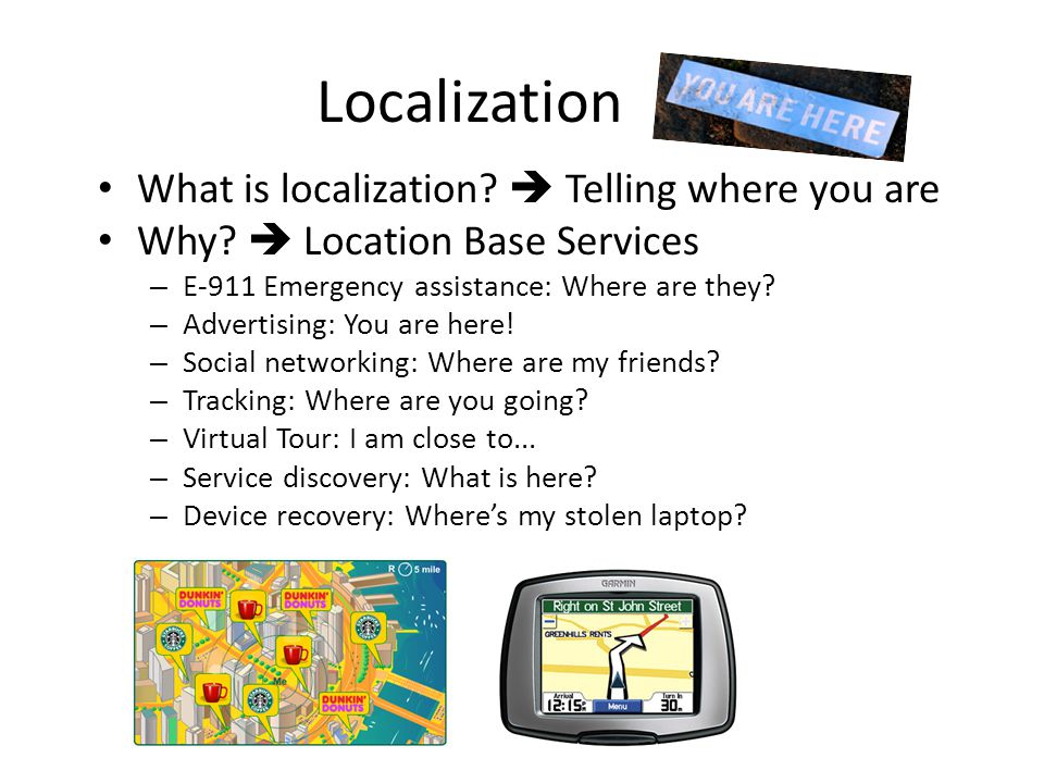 Localization What is localization.  Telling where you are Why.