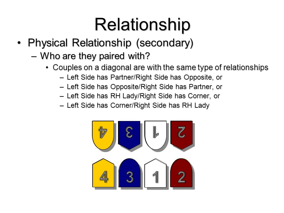 Relationship Physical Relationship (secondary)Physical Relationship (secondary) –Who are they paired with.