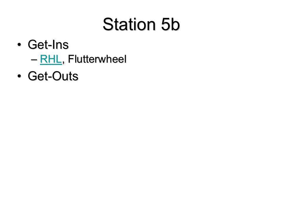 Station 5b Get-InsGet-Ins –RHL, Flutterwheel RHL Get-OutsGet-Outs