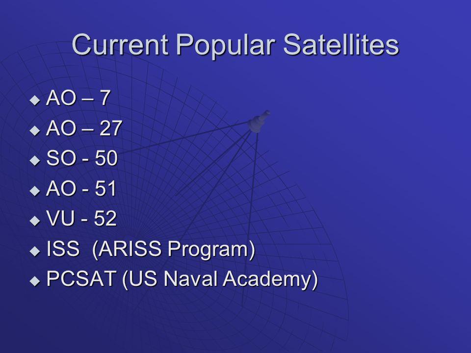 Current Popular Satellites  AO – 7  AO – 27  SO - 50  AO - 51  VU - 52  ISS (ARISS Program)  PCSAT (US Naval Academy)