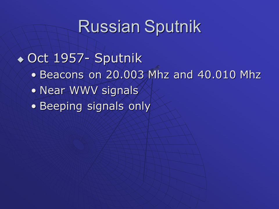 Russian Sputnik  Oct 1957- Sputnik Beacons on 20.003 Mhz and 40.010 MhzBeacons on 20.003 Mhz and 40.010 Mhz Near WWV signalsNear WWV signals Beeping