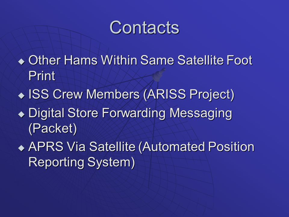 Contacts  Other Hams Within Same Satellite Foot Print  ISS Crew Members (ARISS Project)  Digital Store Forwarding Messaging (Packet)  APRS Via Sat