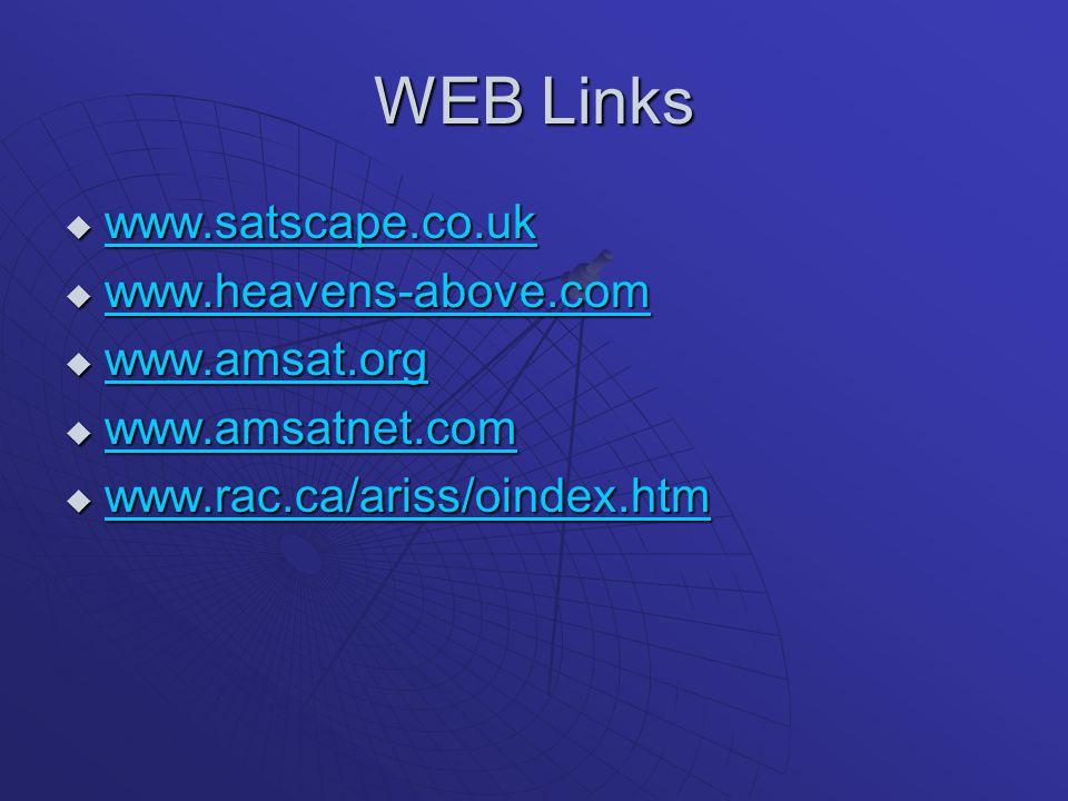 WEB Links  www.satscape.co.uk www.satscape.co.uk  www.heavens-above.com www.heavens-above.com  www.amsat.org www.amsat.org  www.amsatnet.com www.a