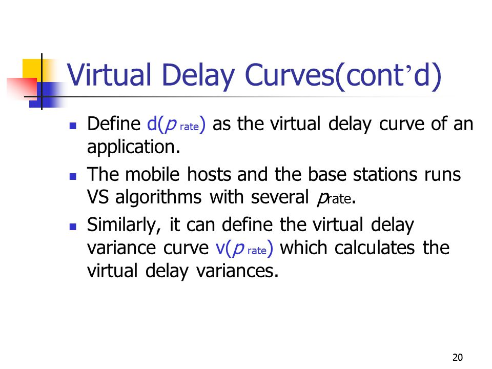 20 Virtual Delay Curves(cont ' d) Define d(p rate ) as the virtual delay curve of an application. The mobile hosts and the base stations runs VS algor