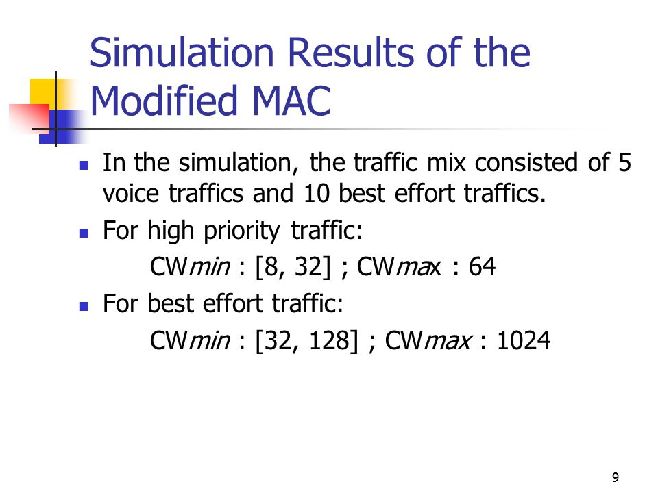 9 Simulation Results of the Modified MAC In the simulation, the traffic mix consisted of 5 voice traffics and 10 best effort traffics. For high priori
