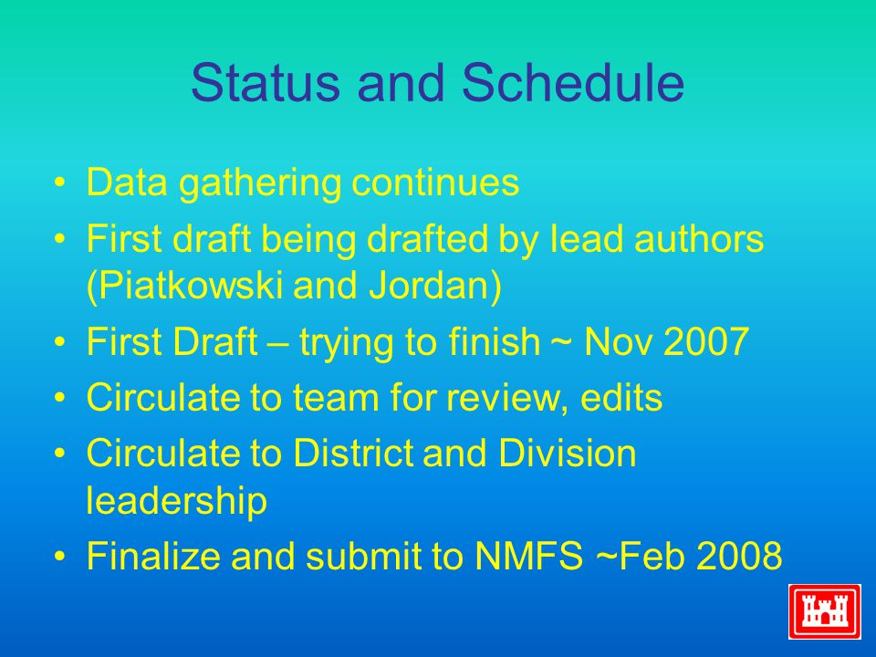 Status and Schedule Data gathering continues First draft being drafted by lead authors (Piatkowski and Jordan) First Draft – trying to finish ~ Nov 20
