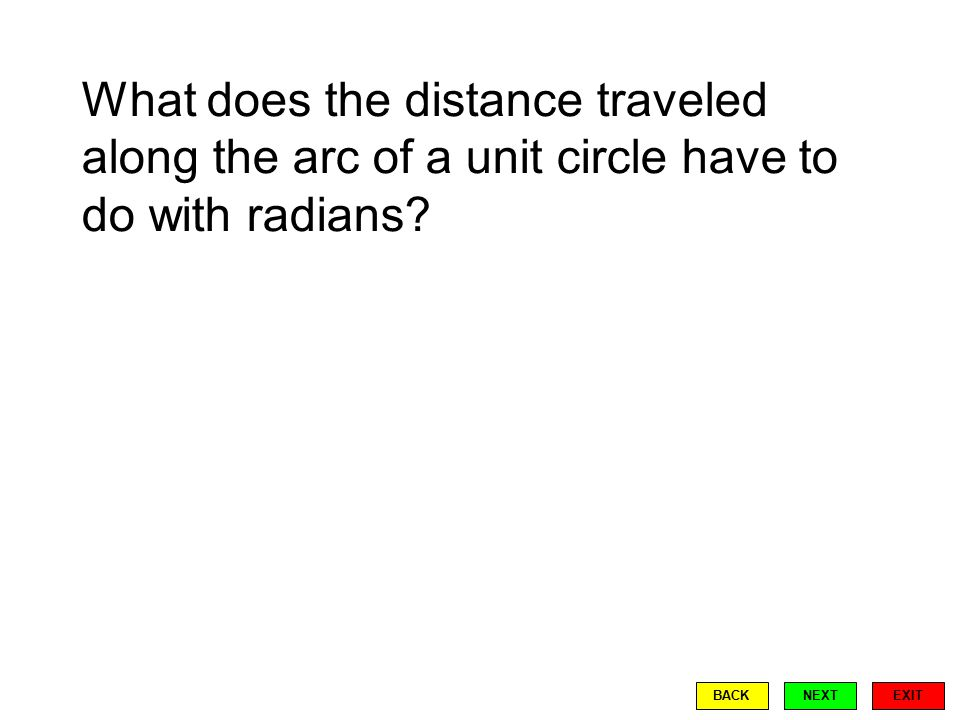 The radian system of measurement is based on using arc length:  is the distance traveled along the arc of a unit circle.