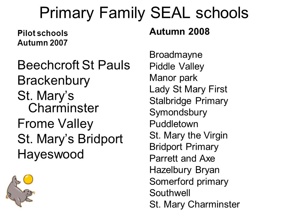 Primary Family SEAL schools Pilot schools Autumn 2007 Beechcroft St Pauls Brackenbury St.