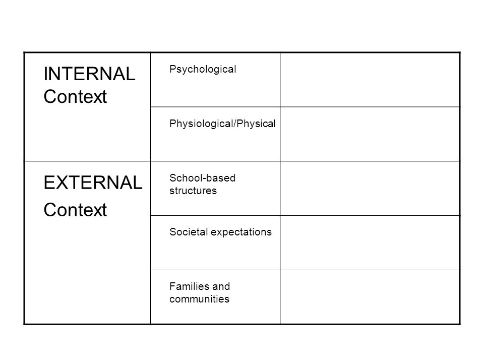 INTERNAL Context Psychological Physiological/Physical EXTERNAL Context School-based structures Societal expectations Families and communities