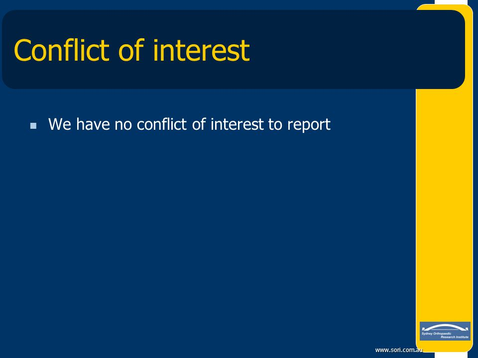 www.sori.com.au Conflict of interest We have no conflict of interest to report