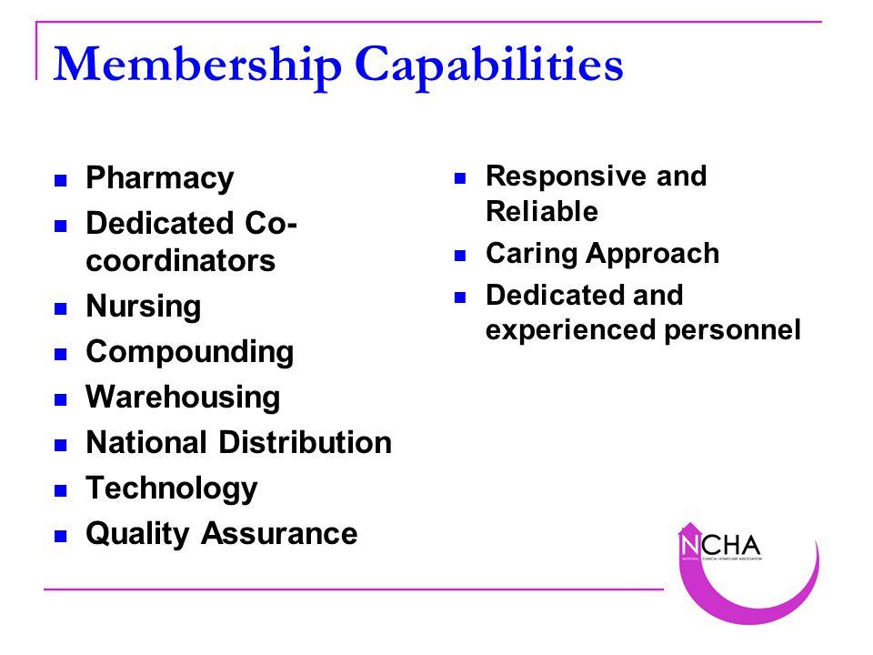 Membership Capabilities Pharmacy Dedicated Co- coordinators Nursing Compounding Warehousing National Distribution Technology Quality Assurance Respons