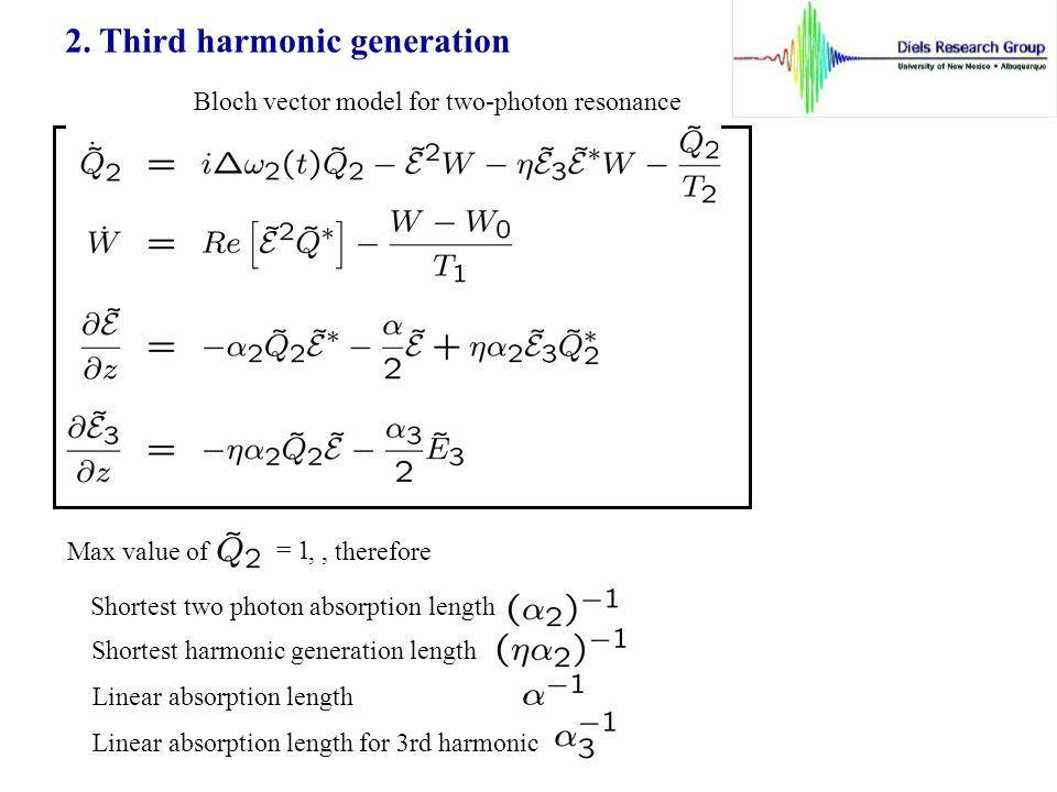 2. Third harmonic generation Bloch vector model for two-photon resonance Max value of = 1,, therefore Shortest two photon absorption length Shortest h