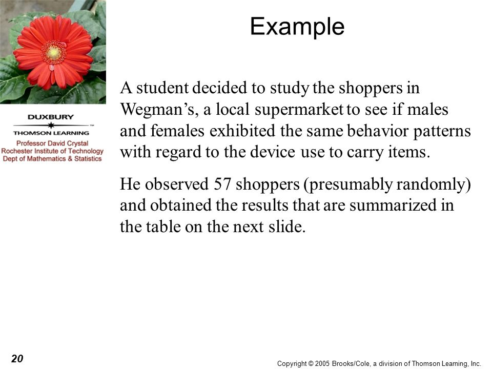 20 Copyright © 2005 Brooks/Cole, a division of Thomson Learning, Inc.