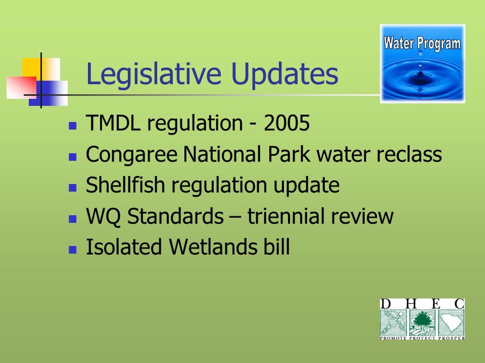 Legislative Updates TMDL regulation - 2005 Congaree National Park water reclass Shellfish regulation update WQ Standards – triennial review Isolated W