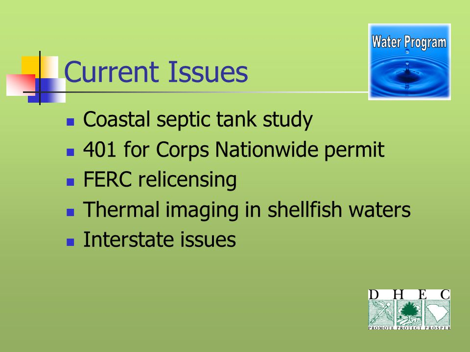Current Issues Coastal septic tank study 401 for Corps Nationwide permit FERC relicensing Thermal imaging in shellfish waters Interstate issues