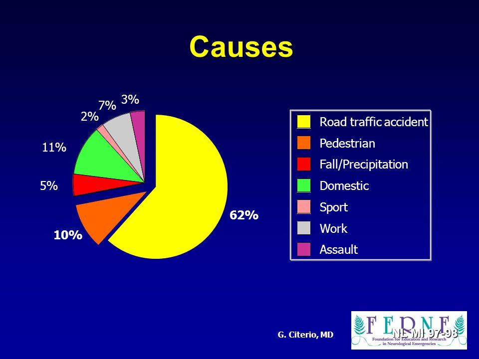 G. Citerio, MD Causes NL MI 97-98 62% 10% 5% 11% 2% 7% 3% Road traffic accident Pedestrian Fall/Precipitation Domestic Sport Work Assault