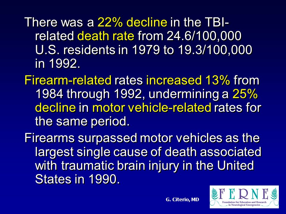 G. Citerio, MD There was a 22% decline in the TBI- related death rate from 24.6/100,000 U.S.