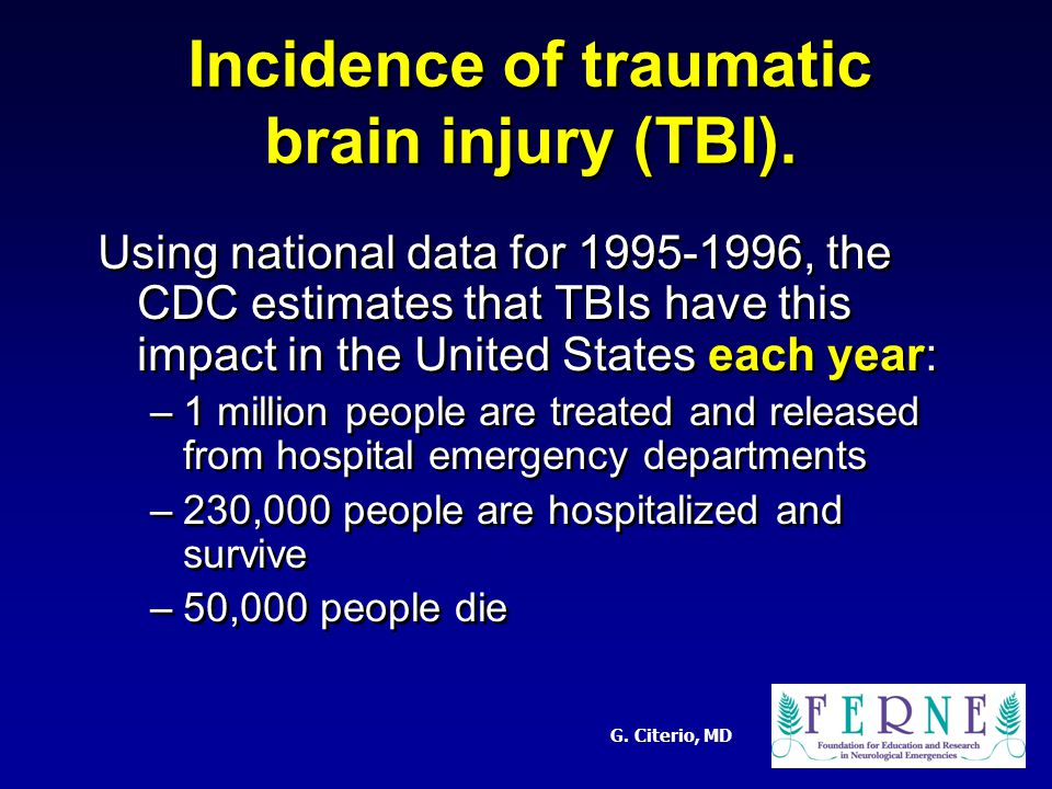 G. Citerio, MD Incidence of traumatic brain injury (TBI).