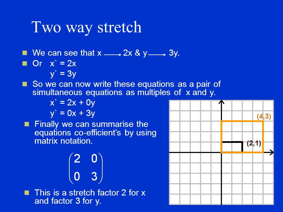 Two way stretch We can see that x 2x & y 3y.