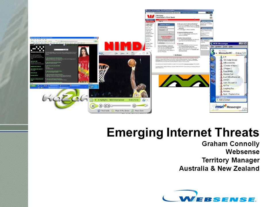 Emerging Internet Threats Graham Connolly Websense Territory Manager Australia & New Zealand