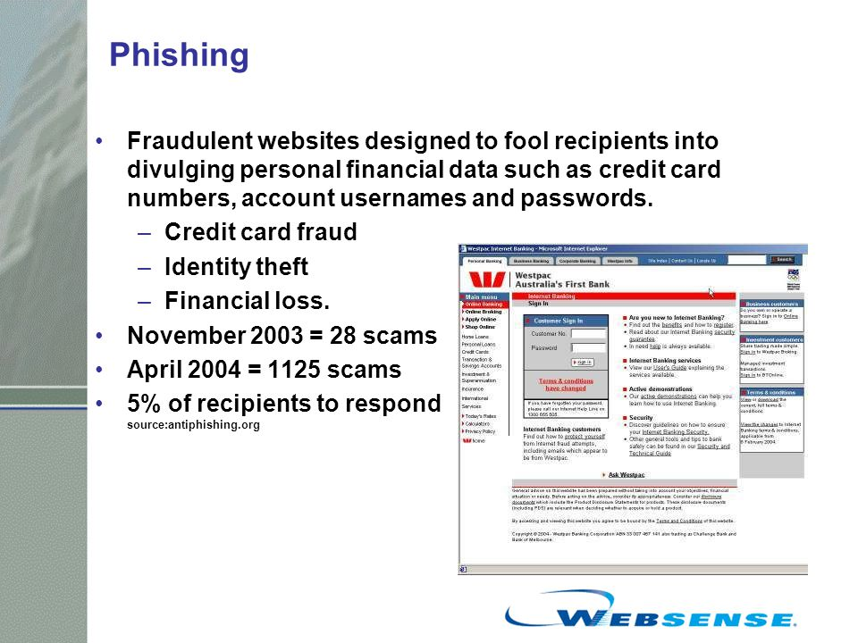 Phishing Fraudulent websites designed to fool recipients into divulging personal financial data such as credit card numbers, account usernames and passwords.