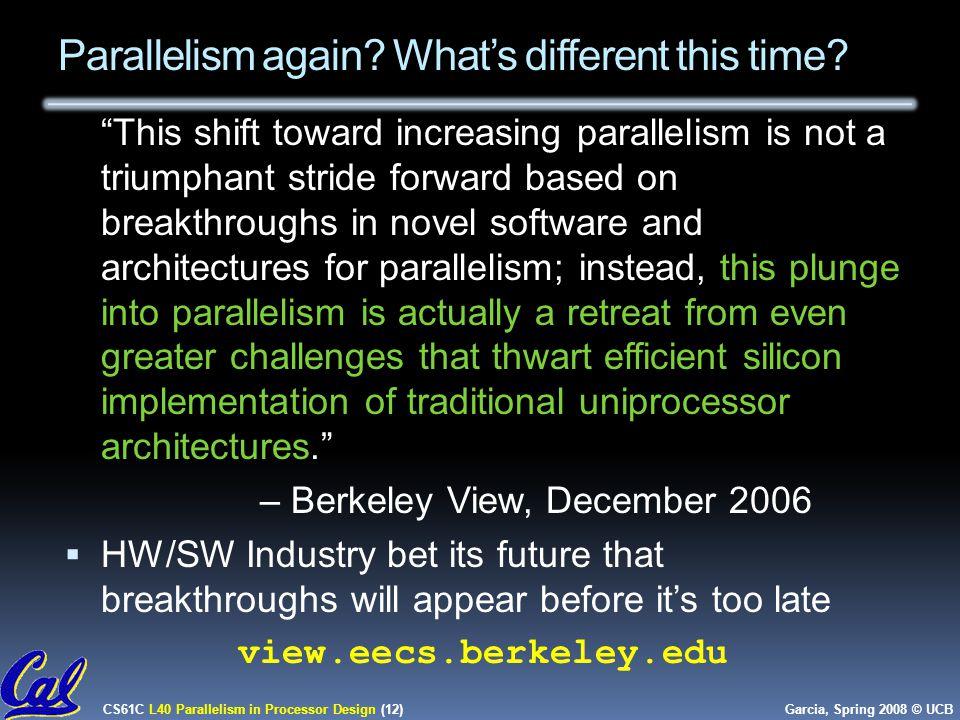 CS61C L40 Parallelism in Processor Design (12) Garcia, Spring 2008 © UCB Parallelism again.