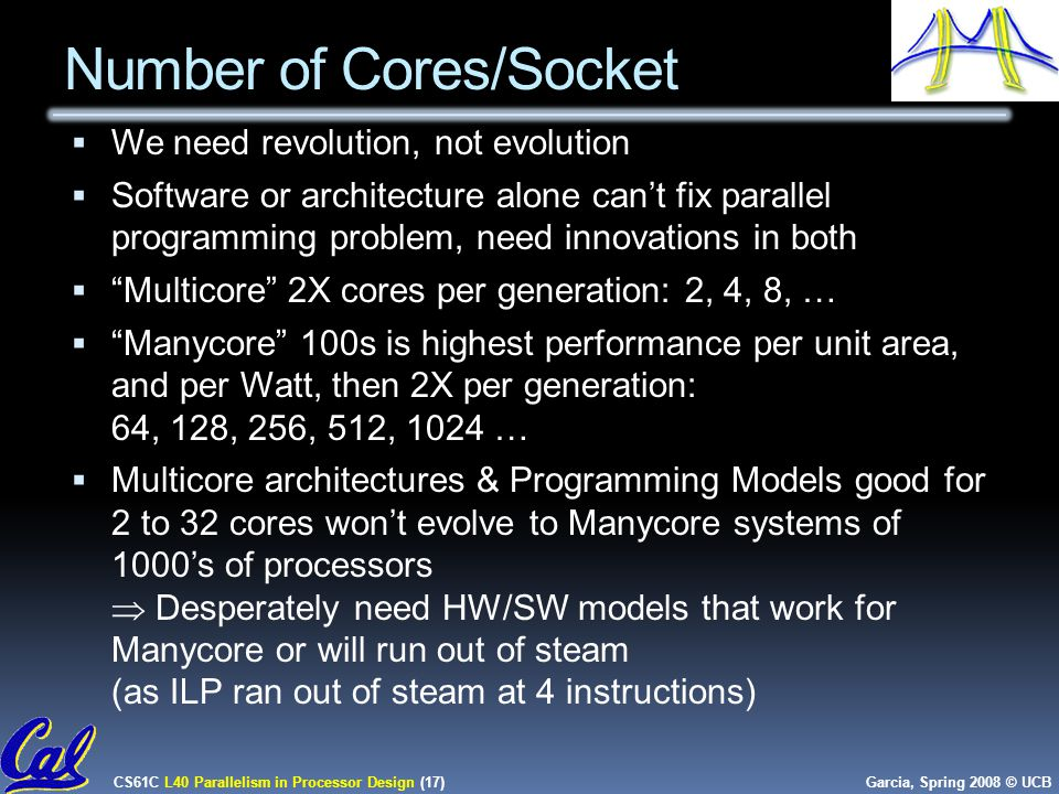 CS61C L40 Parallelism in Processor Design (17) Garcia, Spring 2008 © UCB Number of Cores/Socket  We need revolution, not evolution  Software or architecture alone can't fix parallel programming problem, need innovations in both  Multicore 2X cores per generation: 2, 4, 8, …  Manycore 100s is highest performance per unit area, and per Watt, then 2X per generation: 64, 128, 256, 512, 1024 …  Multicore architectures & Programming Models good for 2 to 32 cores won't evolve to Manycore systems of 1000's of processors  Desperately need HW/SW models that work for Manycore or will run out of steam (as ILP ran out of steam at 4 instructions)