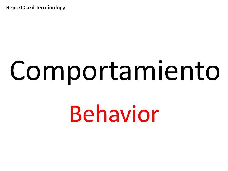 Report Card Terminology Comportamiento Behavior