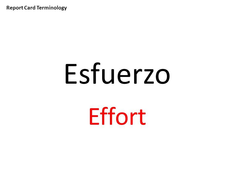 Report Card Terminology Esfuerzo Effort