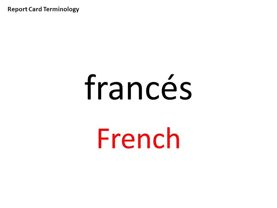 Report Card Terminology francés French