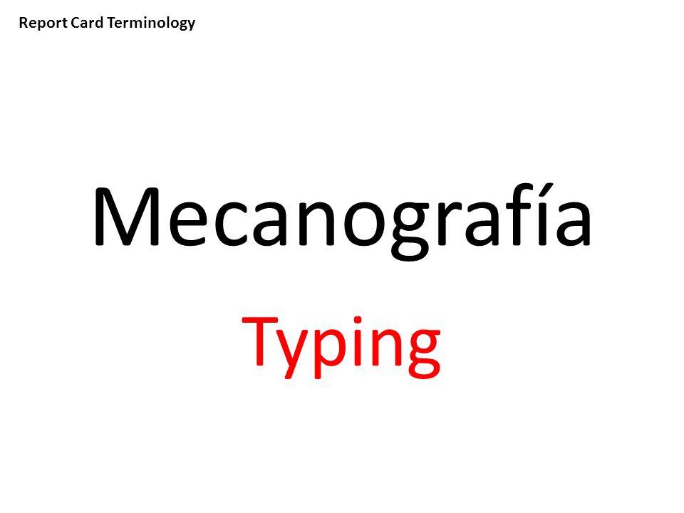 Report Card Terminology Mecanografía Typing