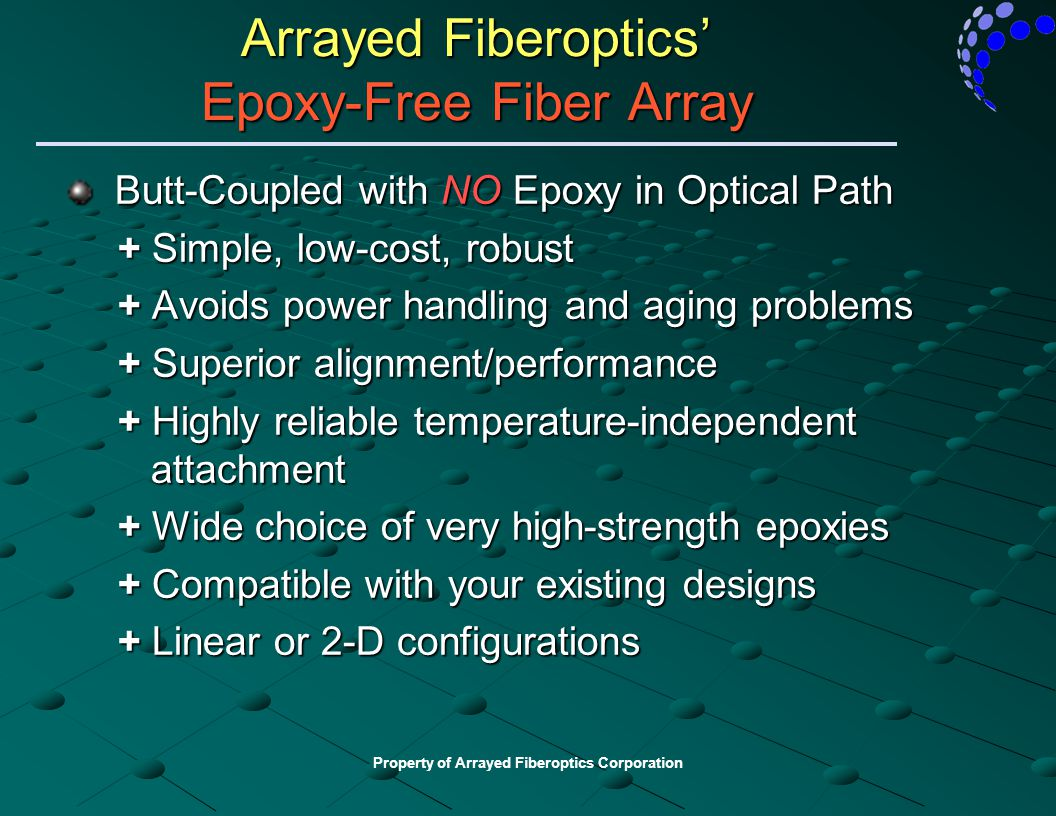 Property of Arrayed Fiberoptics Corporation Arrayed Fiberoptics' Epoxy-Free Fiber Array Butt-Coupled with NO Epoxy in Optical Path Butt-Coupled with N