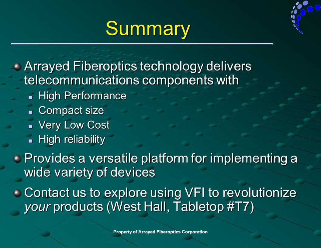 Property of Arrayed Fiberoptics Corporation Summary Arrayed Fiberoptics technology delivers telecommunications components with High Performance High P
