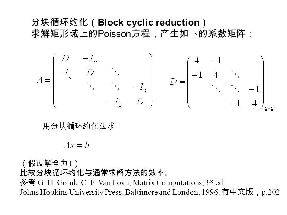 分块循环约化( Block cyclic reduction ) 求解矩形域上的 Poisson 方程,产生如下的系数矩阵: 用分块循环约化法求 (假设解全为 1 ) 比较分块循环约化与通常求解方法的效率。 参考 G.
