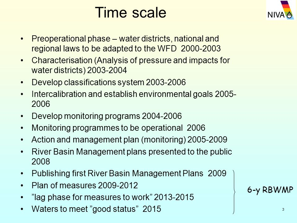 3 Time scale Preoperational phase – water districts, national and regional laws to be adapted to the WFD 2000-2003 Characterisation (Analysis of pressure and impacts for water districts) 2003-2004 Develop classifications system 2003-2006 Intercalibration and establish environmental goals 2005- 2006 Develop monitoring programs 2004-2006 Monitoring programmes to be operational 2006 Action and management plan (monitoring) 2005-2009 River Basin Management plans presented to the public 2008 Publishing first River Basin Management Plans 2009 Plan of measures 2009-2012 lag phase for measures to work 2013-2015 Waters to meet good status 2015 6-y RBWMP