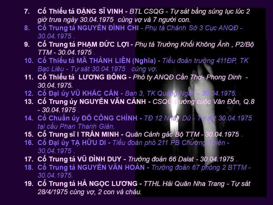 6. Cố Trung tá NGUYỄN VĂN LONG – CSQG Tự sát tại công trường Lam Sơn, Saigon 30.04.1975