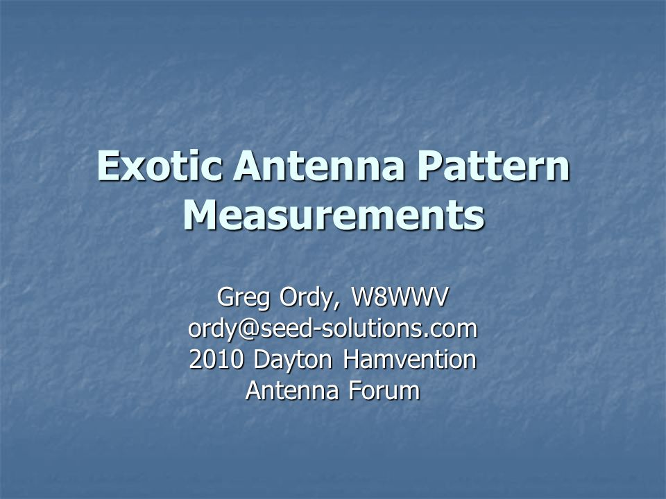 May, 2010Exotic Antenna Pattern Measurements22 Groundwave Characteristics (2) The frequency of the F/B peak may even shift as function of take-off angle.