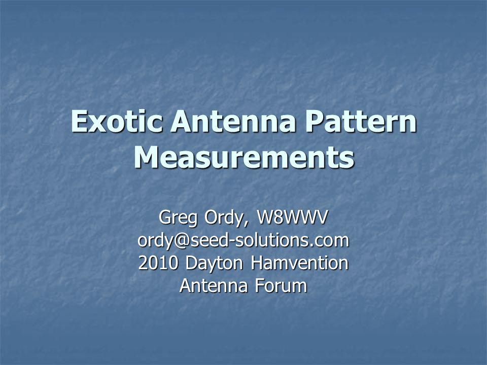 May, 2010Exotic Antenna Pattern Measurements32 K8AZ 40 m Yagi's 3 different 40 meter Yagi's 3 different 40 meter Yagi's 4L @ 130' 4L @ 130' 2L @ 70' 2L @ 70' 2L @ 65' (fixed 140) 2L @ 65' (fixed 140) I used my 20 meter Yagi (@ 60') as a secondary antenna.