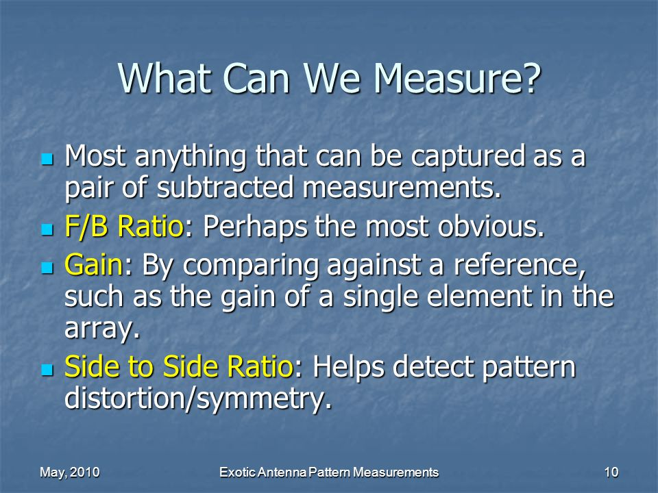 May, 2010Exotic Antenna Pattern Measurements10 What Can We Measure.