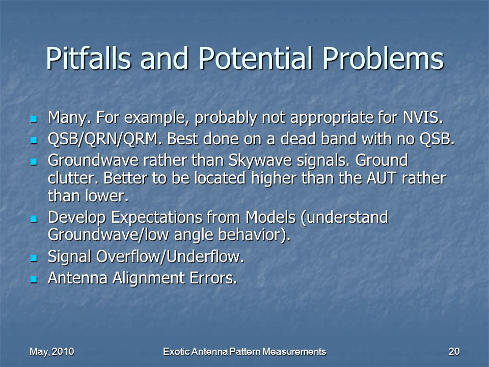 May, 2010Exotic Antenna Pattern Measurements20 Pitfalls and Potential Problems Many.