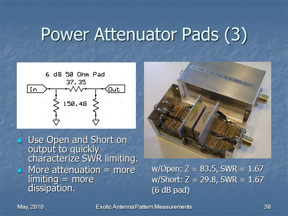 May, 2010Exotic Antenna Pattern Measurements38 Power Attenuator Pads (3) Use Open and Short on output to quickly characterize SWR limiting.